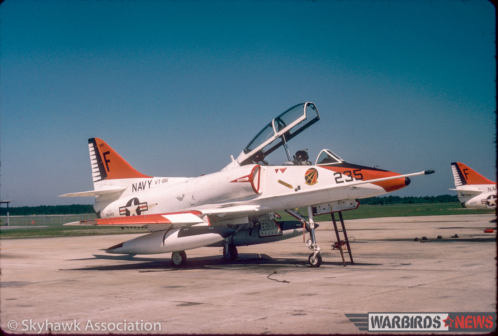 Right front view of VT-86 Sabrehawks TA-4J Skyhawk BuNo 156925 F-235, on the flightline, NAS Pensacola, 21 April 1978. (photo via Skyhawk Association)